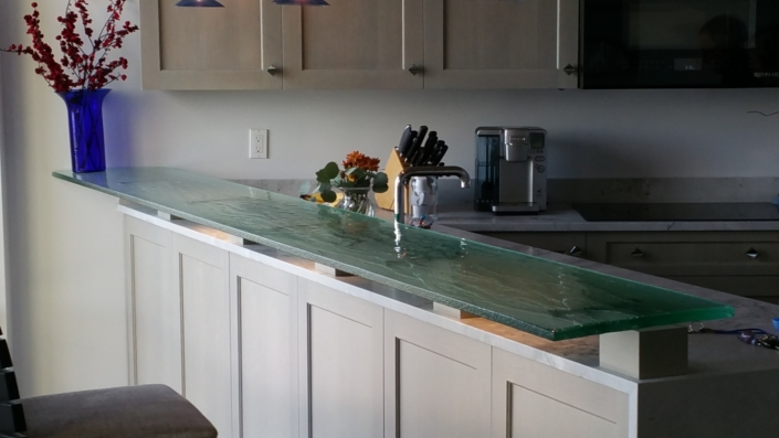 "1"" thick Legacy Green Glass Counter Top - CT-009"