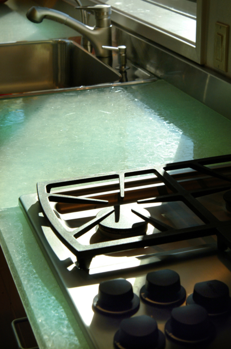 Detail of Caribbean Dense Glass Kitchen Counter - CT-018