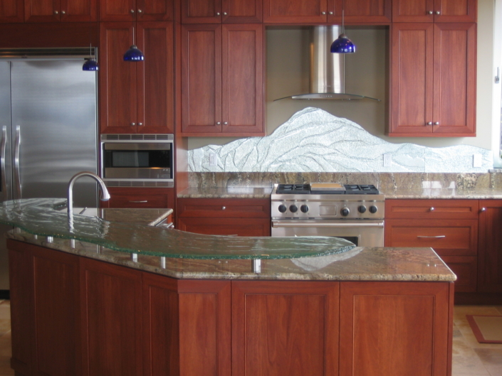 4-Layer Midori Counter Top & Custom Textured Mirrored Back Splash - CT-026