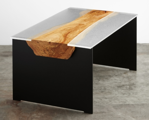 Custom Clear Cast Glass, Wood and Metal Desk - DT-001