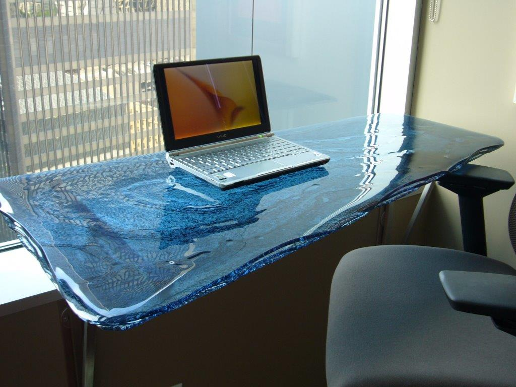 3-Layered Blue Luna Glass Desk - DT-002