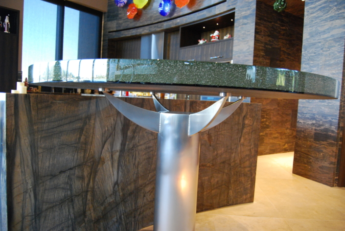 """2"""" thick Infinity Bronze Glass Table Top - DT-005"""
