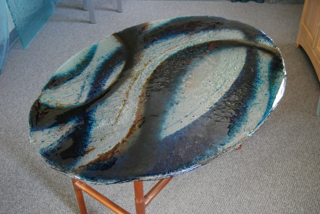 Layered Glass with melted glass particles Coffee Table - DT-006
