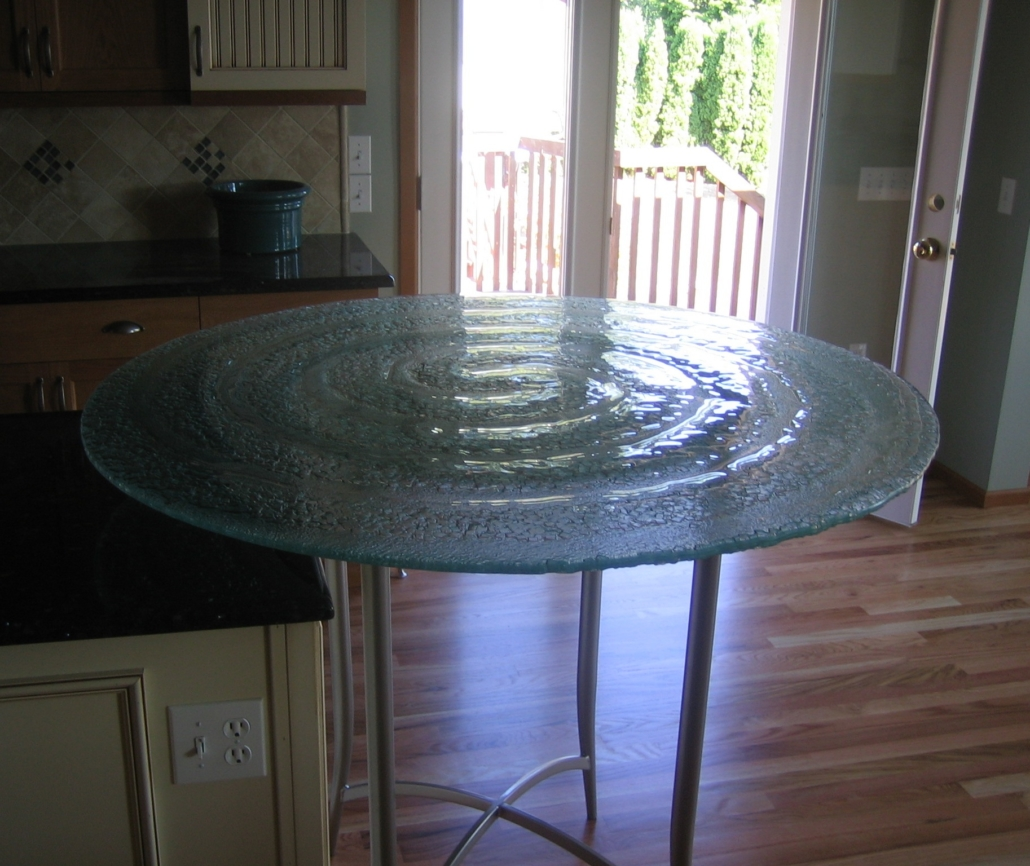 Custom Texture Slump Glass Cafe Table - DT-009