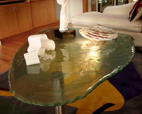 Custom Water Texture Slump w/ Chip Edge Glass Coffee Table - DT-011