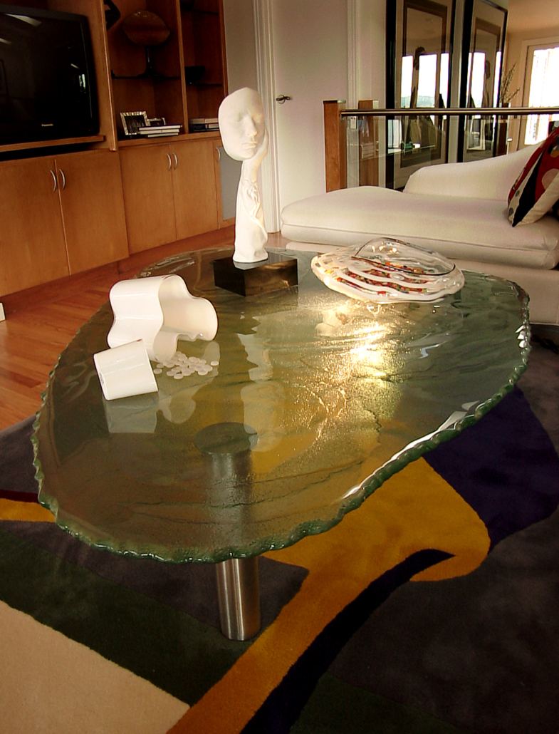 Custom Water Texture Slump w/ Chip Edge Glass Coffee Table - DT-011