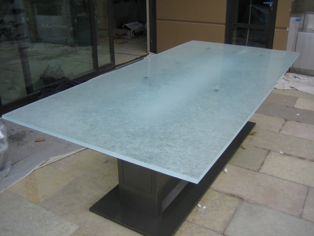 "1"" thick Arctic Wisp Glass Patio Table - DT-015"