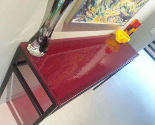 "1"" thick Infinity Ruby Glass Side Table - DT-023"