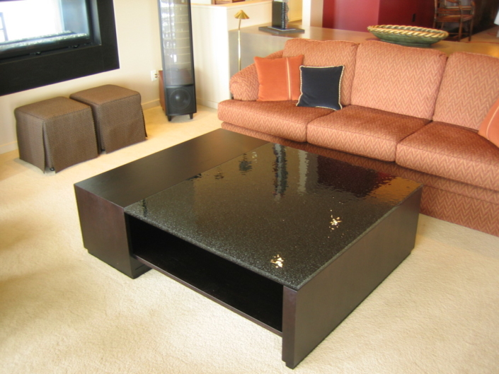 "1"" thick Infinity Obsidian Glass Coffee Table - DT-024"