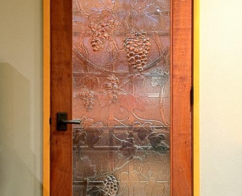 Custom Textured Glass Wine Door Insert with Grape Motif - DW-010