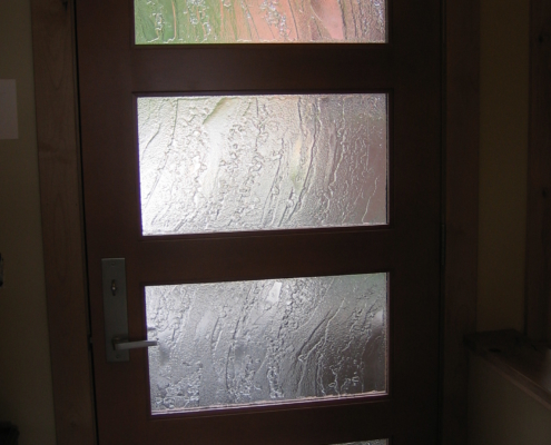 100% Recycled Glass - Custom Texture Slumped Glass Door Insert - DW-013