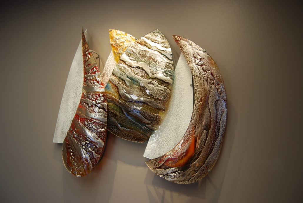 Textured, slumped and back-painted Glass Wall Art Piece - SP-004