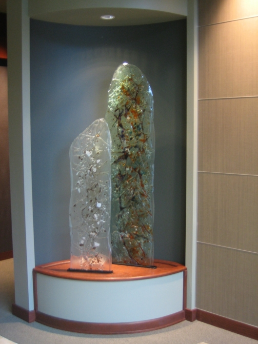 Multi-layered with glass pieces, Entry Art Glass Sculpture- SP-014