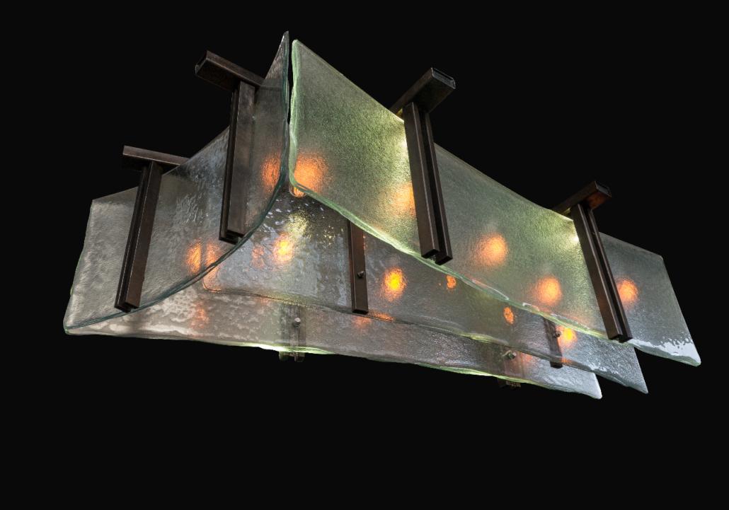 Custom Textured, Bent and Layered Aisu Light Fixture - SP-015