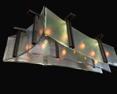 Custom Textured, Bent and Layered Aisu Light Fixture - SP-015