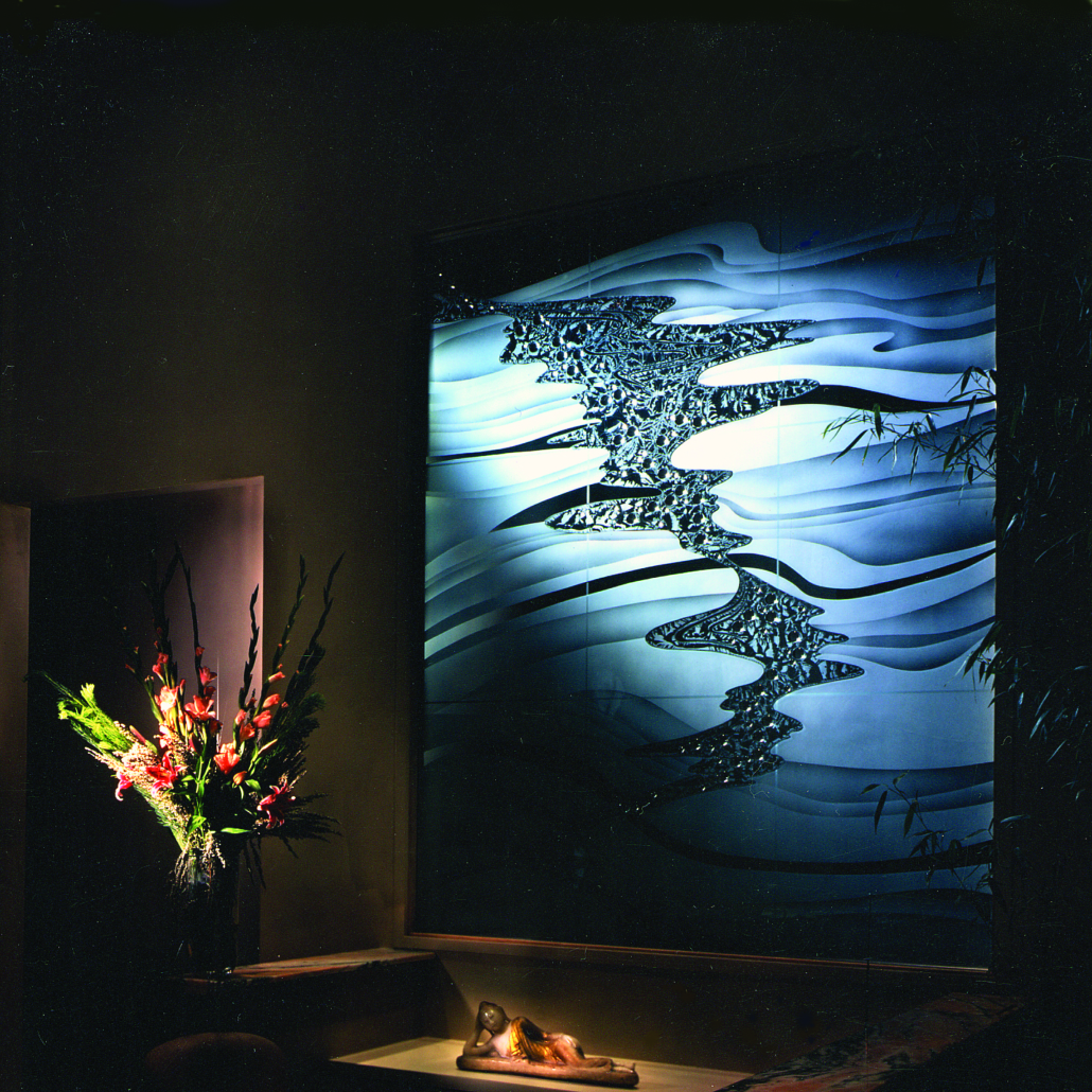 Sand-carved, glue-chipped Entry Glass Wall Accent with Applied glass jewels - SP-016