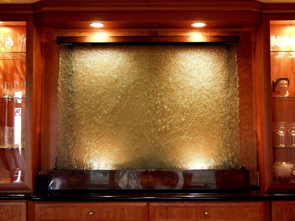 Custom Textured Slumped Glass Interior Water feature - WP-003