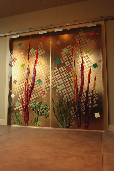 "Custom Textured Glass Privacy Wall with ""barn-door"" hardware - WP-006"