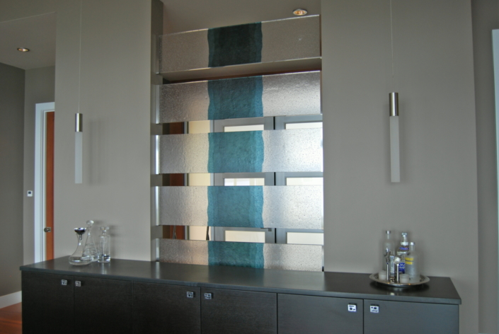 Custom Cast River Glass Privacy Wall Partition - WP-011