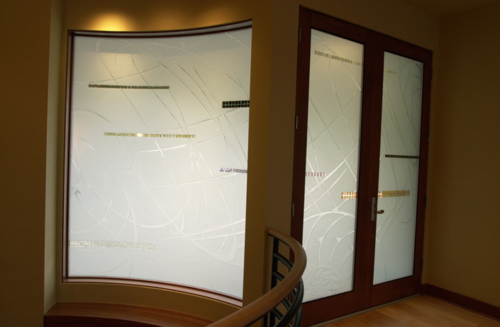 Custom Etched Glass Privacy Wall and Door Inserts with applied Glass Pieces - WP-014