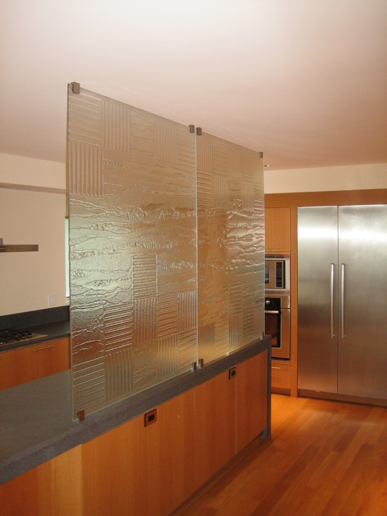 Custom Textured Slumped Glass Privacy Wall - WP-015
