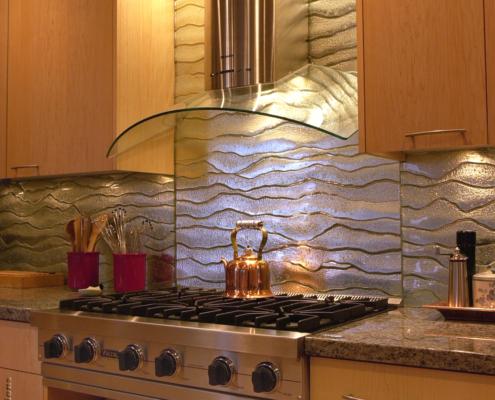 Water Textured Slumped Mirrored Glass Black Splash - WP-016