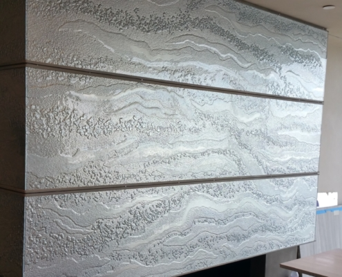 Mirrored Luna Slumpd Glass Fireplace Cladding - WP-026