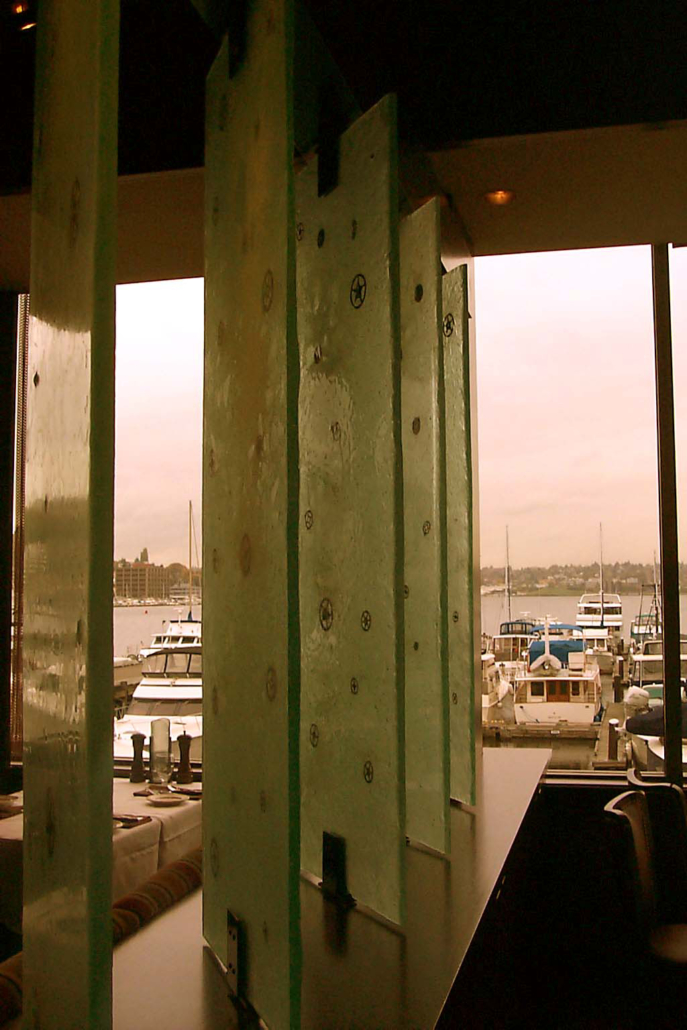 Pivoting Custom Cast Glass Privacy Partitions - WP-029