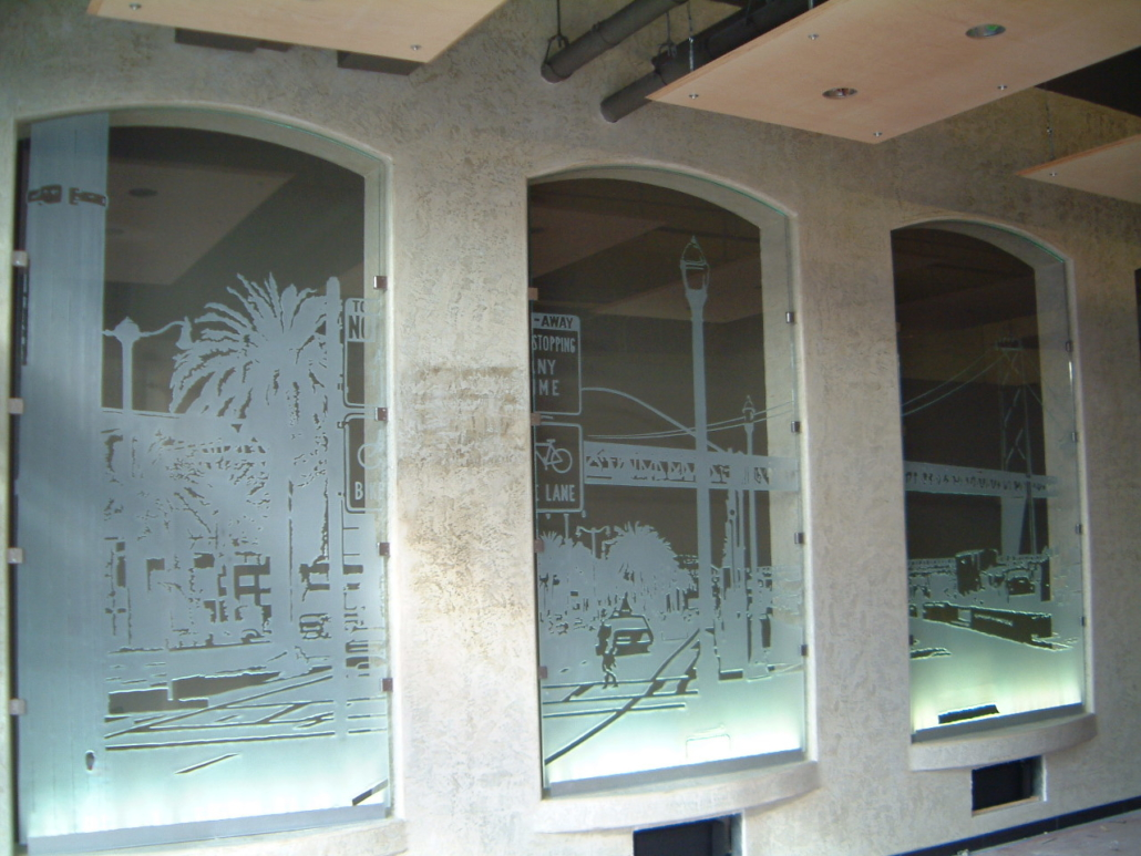 Custom Sand-carved Glass Feature Windows - WP-036