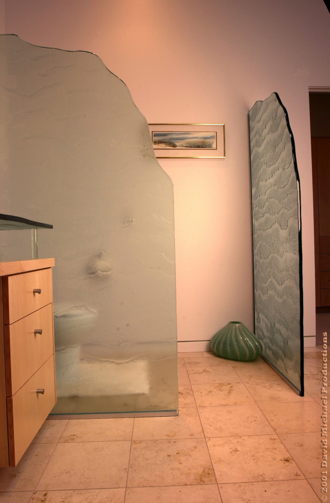 Water Textured Slumped Safety Glass Privacy Partition - WP-042