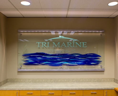 Sand-carved Sign with Applied Fused Blue Glass - BZ-015