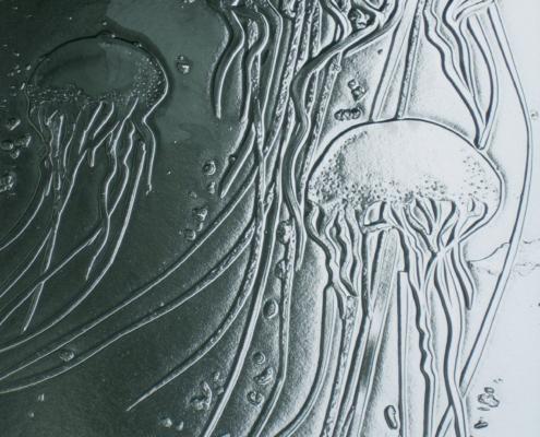 Detail of Custom Texture Slump Glass Door Insert - DW-020