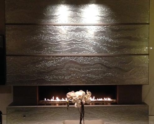 Luna Mirrored Slumped Glass Fireplace Cladding - WP-056