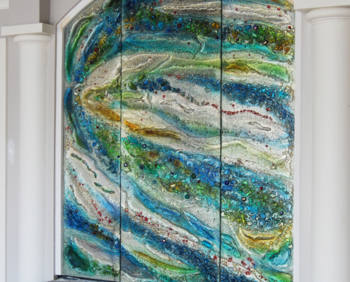 DW-004 Custom Painted Luna Slumped Glass Pool Wall