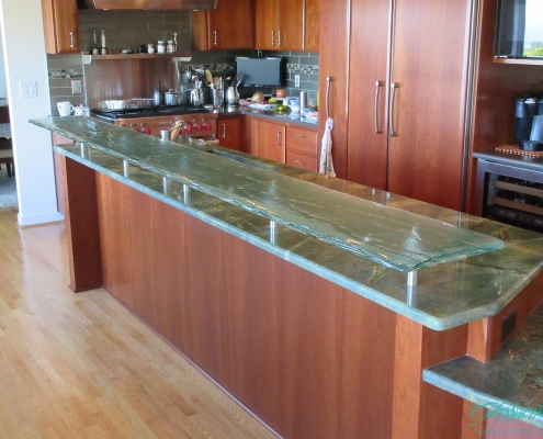 Midori layered glass eating counter
